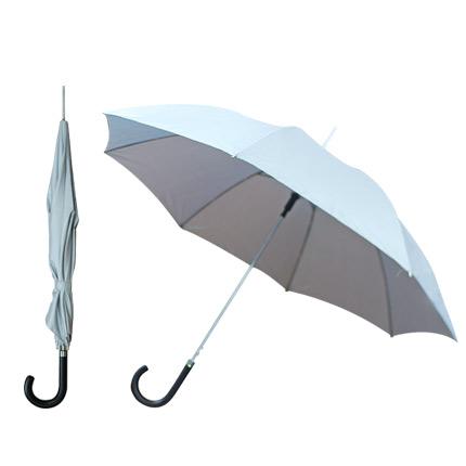 """Зонт-трость полуавтоматический """"Элеганс"""" с чёрной изогнутой ручкой, цвет купола серебряный"""