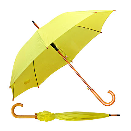 """Зонт-трость """"ЛАЙМ"""" с деревянной изогнутой ручкой, полуавтомат, цвет купола жёлтый 395 C"""