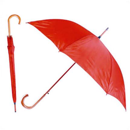 """Зонт-трость с деревянной изогнутой ручкой """"Хит"""", полуавтомат, цвет купола красный"""