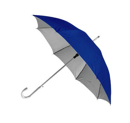 """Зонт-трость """"Silver"""" с пластиковой ручкой """"под алюминий"""", полуавтомат, купол внутри серебристый, снаружи синий"""