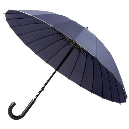 Зонт-трость Ella механический с кожаной ручкой, цвет купола тёмно-синий с серой окантовкой