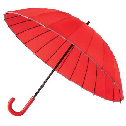 Зонт-трость Ella механический с кожаной ручкой, цвет купола красный с серой окантовкой