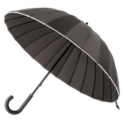 Зонт-трость Ella механический с кожаной ручкой, цвет купола чёрный с белой окантовкой
