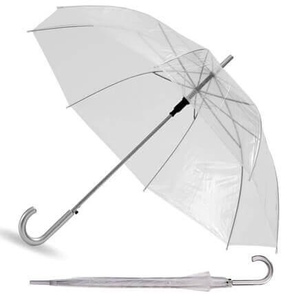 """Зонт-трость """"Клауд"""", полуавтомат, с пластиковой ручкой, купол прозрачный"""