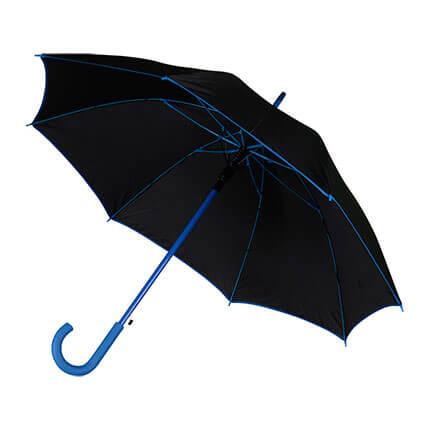 """Зонт-трость """"Гилфорт"""", полуавтомат, купол чёрный, цвет кромки, ручки и стержня синий"""