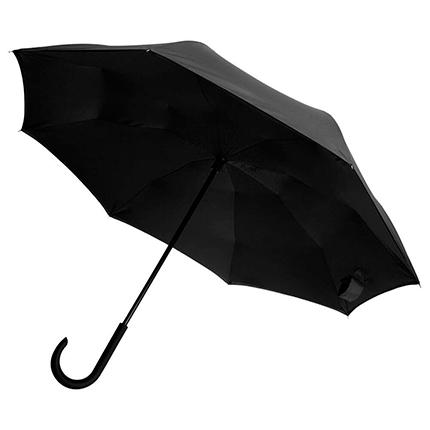 """Зонт-трость """"наоборот"""" Unit Style, с пластиковой ручкой, механический, цвет чёрный"""