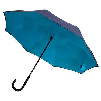"""Зонт-трость """"наоборот"""" Unit Style, с пластиковой ручкой, механический, цвет сине-голубой"""
