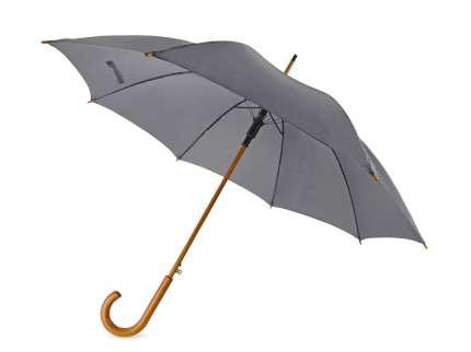 """Зонт-трость """"Радуга"""" полуавтомат с деревянной ручкой, серый 425C"""