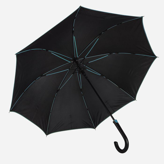 """Зонт-трость """"Back to black"""", полуавтомат, цвет чёрный с голубым"""