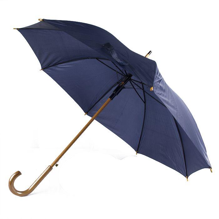 """Зонт-трость с деревянной изогнутой ручкой """"Хит"""", полуавтомат, цвет купола тёмно-синий 288C"""