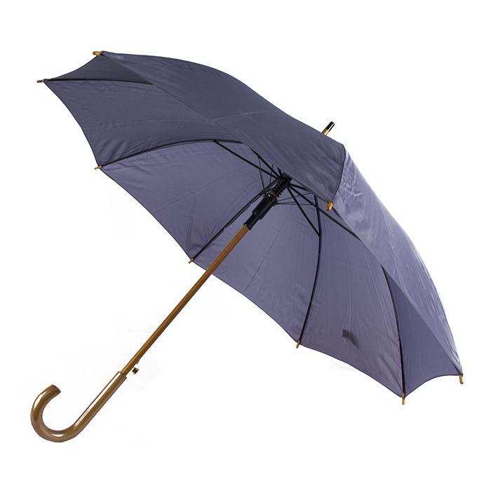 """Зонт-трость с деревянной изогнутой ручкой """"Хит"""", полуавтомат, цвет купола cool grey 10C"""