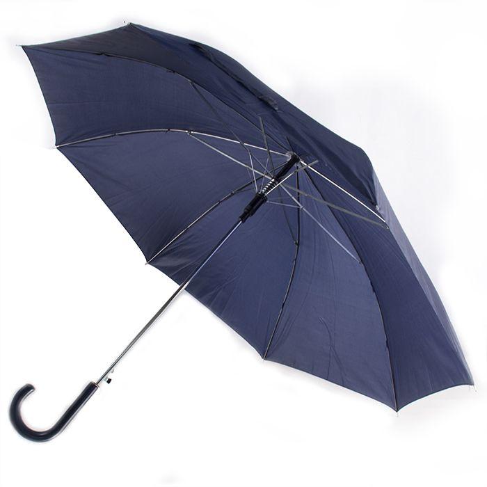 """Зонт-трость """"Эконом"""" с пластиковой изогнутой ручкой, полуавтомат, цвет ручки и купола темно-синий 288С"""