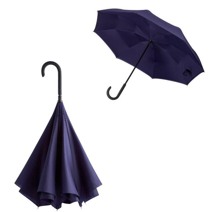 """Зонт-трость """"наоборот"""" Unit Style, с пластиковой ручкой, механический, цвет тёмно-фиолетовый"""