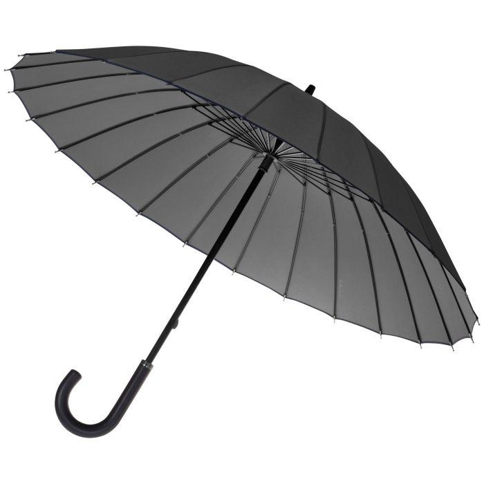Зонт-трость Ella механический с кожаной ручкой, цвет купола серый с тёмно-синей окантовкой