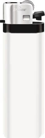 Механическая одноразовая зажигалка серия Color/Chrome Cap F-001, цвет белый