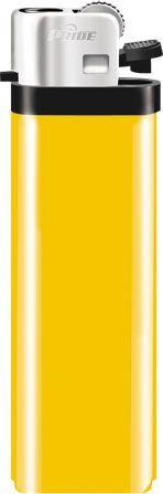 Механическая одноразовая зажигалка серия Color/Chrome Cap F-001, цвет жёлтый