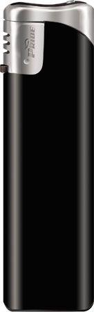 Пьезозажигалка многоразовая серия Color/Chrome Cap Е-101, чёрная
