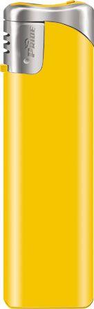 Пьезозажигалка многоразовая серия Color/Chrome Cap Е-101, жёлтая