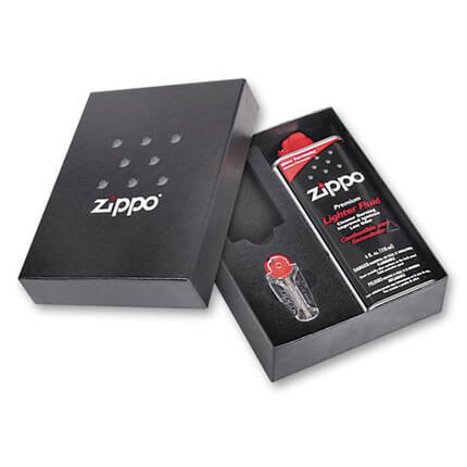 Подарочная коробка под широкую зажигалку Zippo с кремнями и топливом