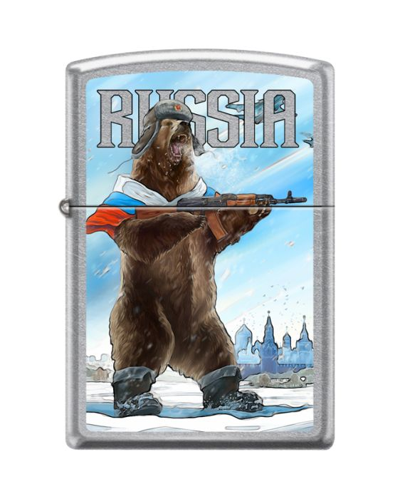 Зажигалка ZIPPO Русский медведь с покрытием Street Chrome, серебристая