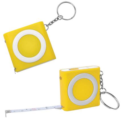 Брелок-рулетка (1м) с фонариком, жёлтая