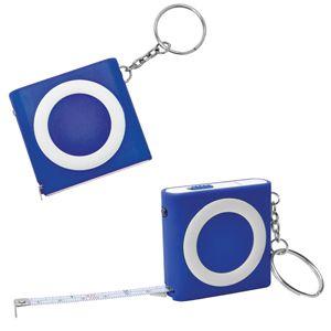 Брелок-рулетка (1м) с фонариком, синяя