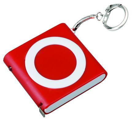"""Брелок-рулетка """"Книга"""" с фонариком, цвет красный"""