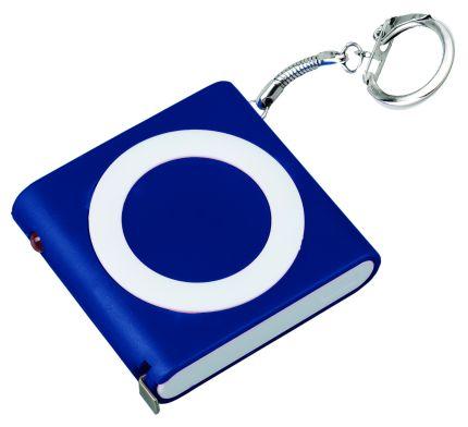 "Брелок-рулетка ""Книга"" с фонариком, цвет синий"
