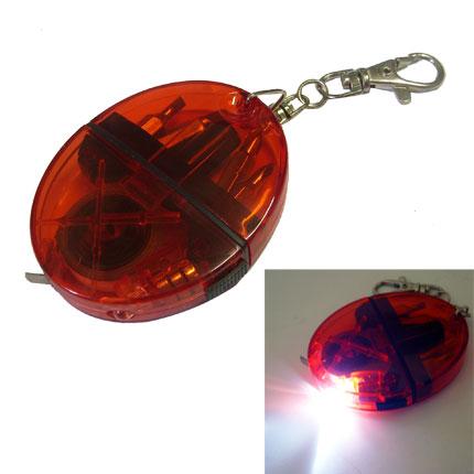 Брелок-рулетка-отвёртка-фонарик с набором из 4 вставок-бит, цвет красный