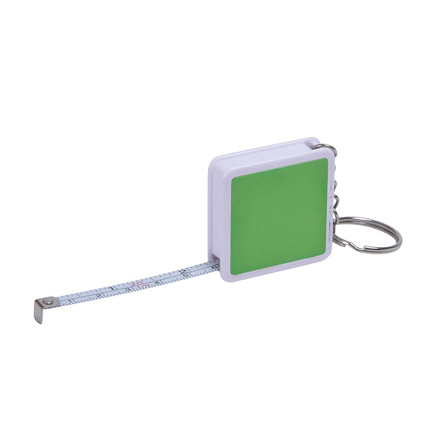 """Брелок-рулетка """"Hit"""", длина 1 м, корпус белый, цвет боковых вставок зелёный"""