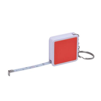 """Брелок-рулетка """"Hit"""", длина 1 м, корпус белый, цвет боковых вставок красный"""