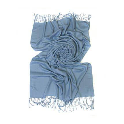 Палантин однотонный 70х200 см, цвет светло-голубой