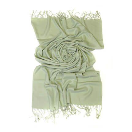 Палантин однотонный 70х200 см, цвет бело-зеленый