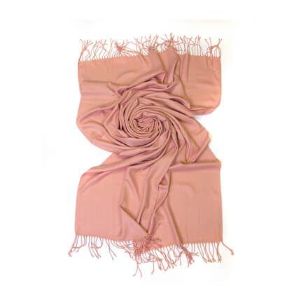 Палантин однотонный 70х200 см, цвет бежево-розовый