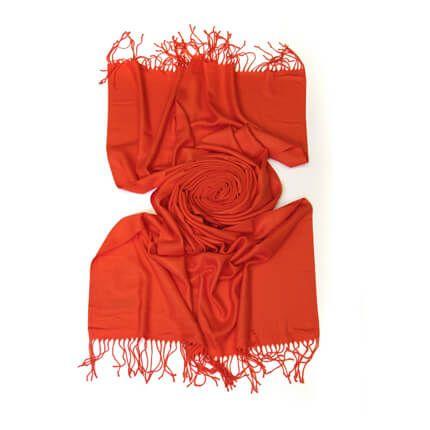 Палантин однотонный 70х200 см, цвет красно-оранжевый