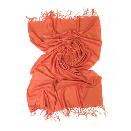 Палантин однотонный 70х200 см, цвет неяркий оранжевый
