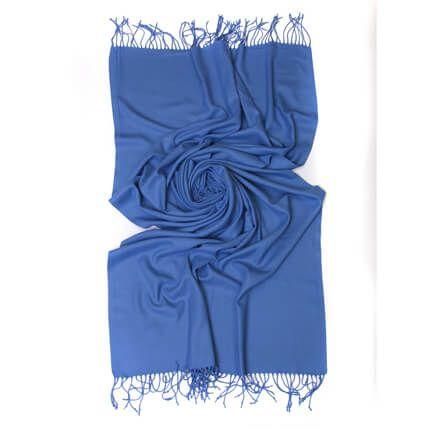 Палантин однотонный 70х200 см, цвет голубой