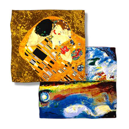 """Платок """"Картина"""", 90x90 см, атлас (100% шелк), в подарочной упаковке, рисунок в ассортименте"""