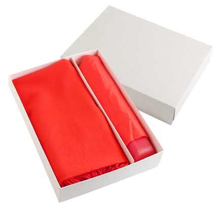 Набор подарочный: палантин и складной механический зонт в подарочной коробке, красный