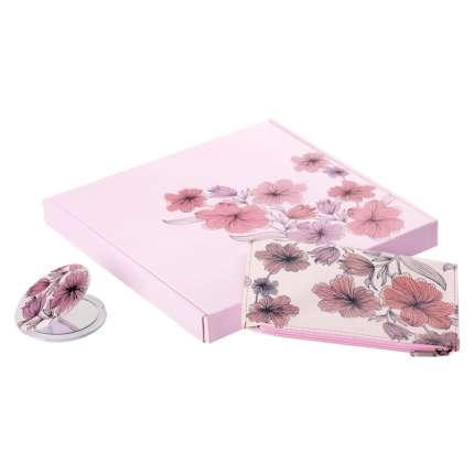 Набор Nice: косметичка и зеркало, цвет розовый
