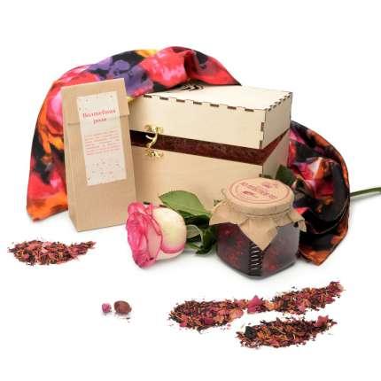 """Набор """"Розы. Метаморфозы"""": варенье из лепестков роз 250 г, чай """"Волшебная роза"""" и платок из коллекции Sergio Verotti, 90х90 см."""