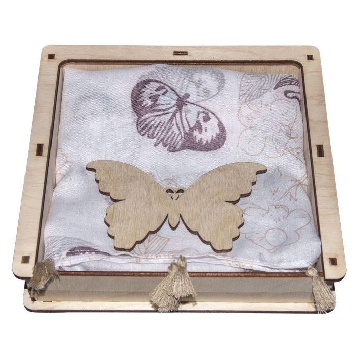 "Набор ""Бабочки"": шарф-платок и подвеска"