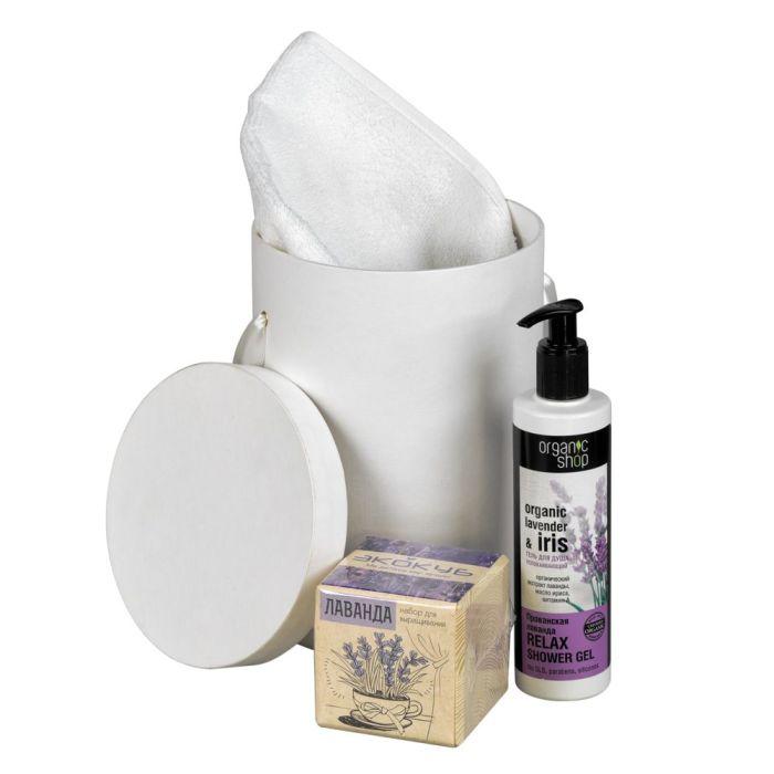 """Набор """"Лаванда"""": набор для выращивания """"Экокуб"""", гель для душа и полотенце"""