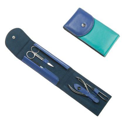 Маникюрный набор GD, 4 предмета, в кожаном футляре бирюзового с синим цвета