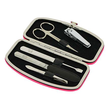 Маникюрный набор GD, 5 предметов, в кожаном розовом футляре