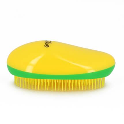 Щетка массажная DEWAL BEAUTY, для легкого расчесывания волос, овальная, цвет желто-зелено-желтый