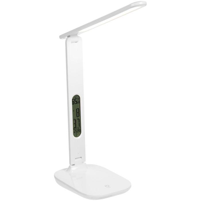 Настольная лампа с часами и календарем Office Torch, белая