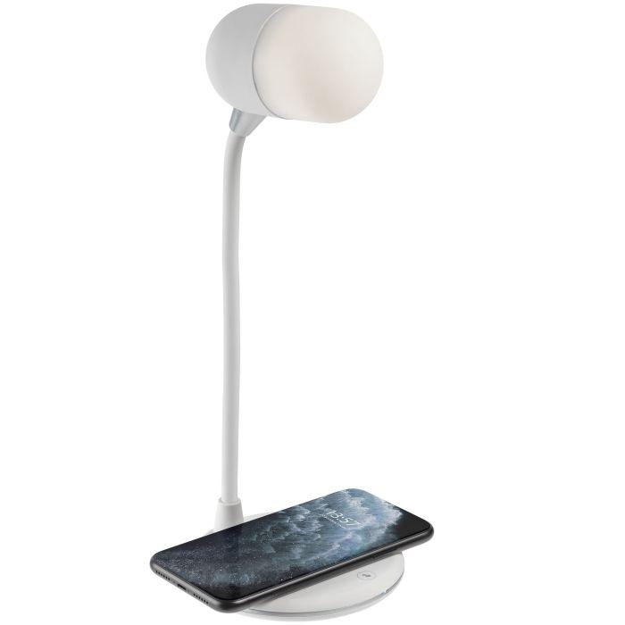 Лампа с колонкой и беспроводной зарядкой lampaTon, белая