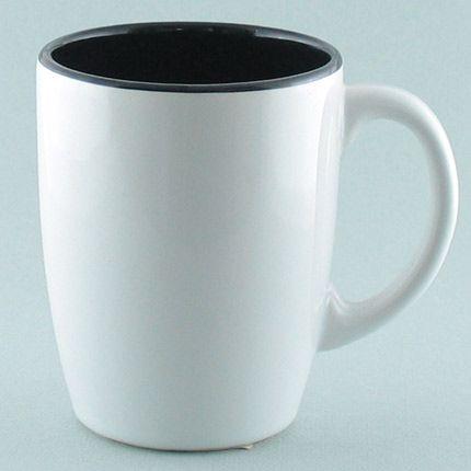 Кружка керамическая 260 мл (тюльпан), снаружи белая, изнутри  черная