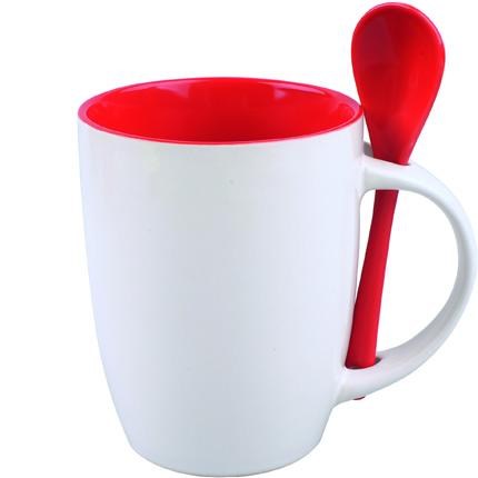 """Кружка керамическая с ложкой """"Авеленго"""", 320 мл, снаружи белая, внутри красная"""